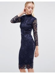 City GoddessHigh Neck Lace Midi Dress With 3/4 Sleeves - Navy