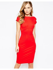 ClosetCloset Pencil Dress with Ruched Cap sleeve - Red