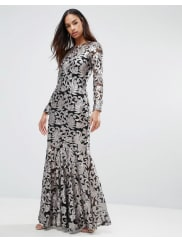 Club LBrocade Sequin Fishtail Maxi Dress With Long Sleeves - Black/pewter sequins
