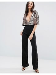 Club LJumpsuit With Brocade Sequin Cape - Black/rose gold