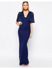 Club LKimono Sleeve Maxi Dress with Lace Overlay - Navy