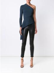 Cushnie et Ochsone-shoulder blouse, Womens, Size: Medium, Blue, Rayon