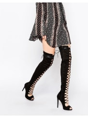 Daisy StreetBlack Thigh High Lace Up Boots - Black