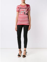 Dolce & Gabbanaembellished striped T-shirt, Womens, Size: 42, Red