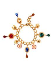 Dolce & GabbanaVergoldetes Armband Mit Anhängern Und Swarovski-kristallen - one size