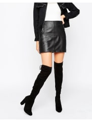 Dune LondonSibyl Thigh High Suede Heeled Over The Knee Boots - Black suede