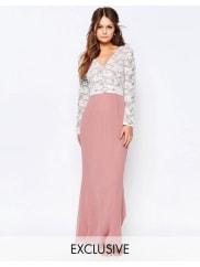 Elise RyanMaxi Dress With Lace Bodice And Embellished Waist - Dusky rose/cream