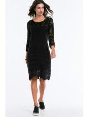 EllosMönsterstickad klänning