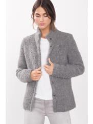EspritVeste douillette en maille bouclette Grey pour Femmes