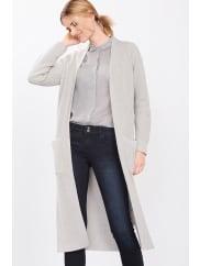 EspritLange gebreide, sportief geribde mantel Light Grey for Women