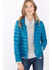 EspritLichte donzen jas met drukknopen Petrol Blue for Women