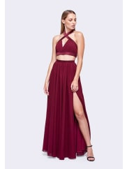 Fame & PartnersDark Burgundy Cali Two Piece Dress