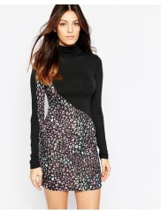 French ConnectionElectric Leopard High Neck Dress In Black - Black multi