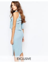 Frock and FrillEmbellished Scallop Overlay Pencil Dress With Open Back And Split - Powder blue