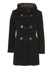 Gil BretMantel, Schwarz, L: 85 cm, für Frauen, Kapuze, klassisches Design, mit Eingrifftaschen