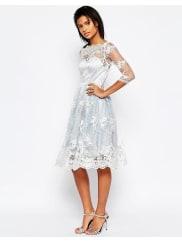 GlamorousMidi Dress With Lace Overlay - Lt blue/cream lace