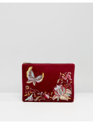 GlamorousPochette in velluto bordeaux ricamato con zip sulla parte superiore - Multicolore