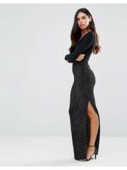HedoniaLong Sleeve Deep V Maxi Dress - Silver sparkle