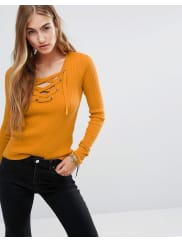HollisterLace Up Knit Jumper - Yellow