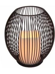HOME AFFAIREMetall-LED-Windlicht, 15/14cm, braun, Maße (B/T/H): 16/16/19 cm, braun