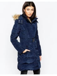 IchiBelted Parka With Faux Fur Hood - Total eclipse
