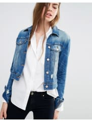 J BrandHarlow Denim Jacket with Distressing - Fiction blue