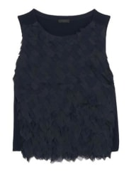 J.crewCollection Chiffon And Organza-paneled Merino Wool Top - Midnight blue