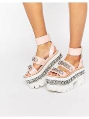 Jeffrey CampbellChain Chunky Platform Leather Sandals - Pink calf leather