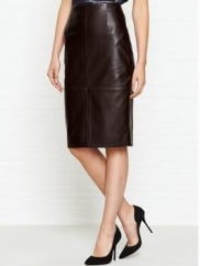 JigsawHigh Waisted Leather Pencil Skirt - Rich Cocoa, Size 10