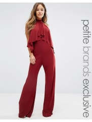 John ZackHigh Neck Jumpsuit With Ruffle Front Detail - Chocolate