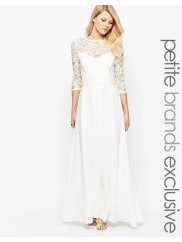 John ZackHeavy Lace 3/4 Sleeve Bodice Maxi Dress - Cream