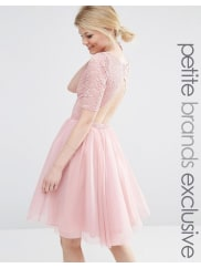 John ZackLace Bodice Midi Prom Dress With Cut Out Detail - Rose
