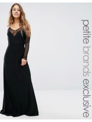 John ZackPlunge Front Maxi Dress With Off Shoulder Sleeve Detail