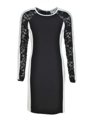 Joseph RibkoffLace Sleeve Textured Pencil Dress, Black And White