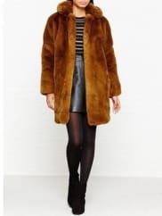 Karen MillenFaux Fur Coat - Tan, Size 16