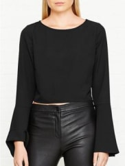 Kendall + KylieBell Sleeve Top - Black, Size Xs