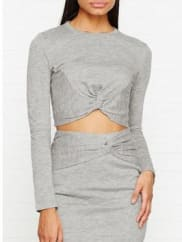 Kendall + KylieKnotted Long Sleeve Cropped Top - Heather Grey, Size M