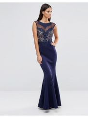 LipsyDelicate Lace Trim Maxi Dress - Navy