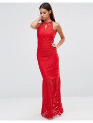 LipsyPlacement Lace Fishtail Maxi Dress - Red