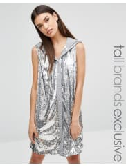 Liquor & Poker TallAll Over Sequin Sleeveless Hoodie - Grey/silver