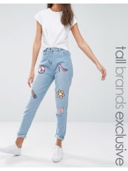 Liquor & Poker TallBoyfriend jeans con vari stemmi di paillettes - Blu