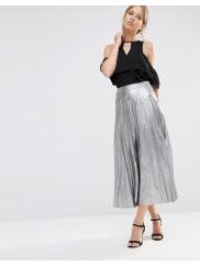 LiquorishPleated Skirt - Silver