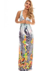 LolliCoutureblue multi zebra print low front long maxi dress