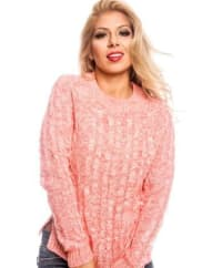 LolliCouturecoral two tone color design knitted pull over sweater