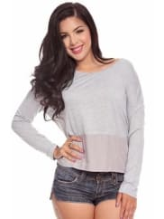 LolliCoutureheather grey drop shoulder with contrast woven hem casual top