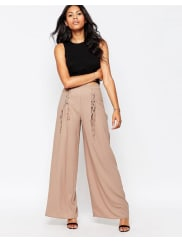 LoveWide Leg Trousers With Lace Up Detail - Mushroom