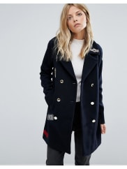 MangoBadge Detail Military Coat - Navy