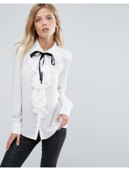 MangoPussy Bow Blouse With Frill Front Detail - White