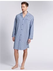 Marks and Spencer IrelandPure Cotton Classic Striped Nightshirt blue mix