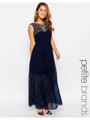 MayaMaxi Dress With Embellished Neckline - Navy